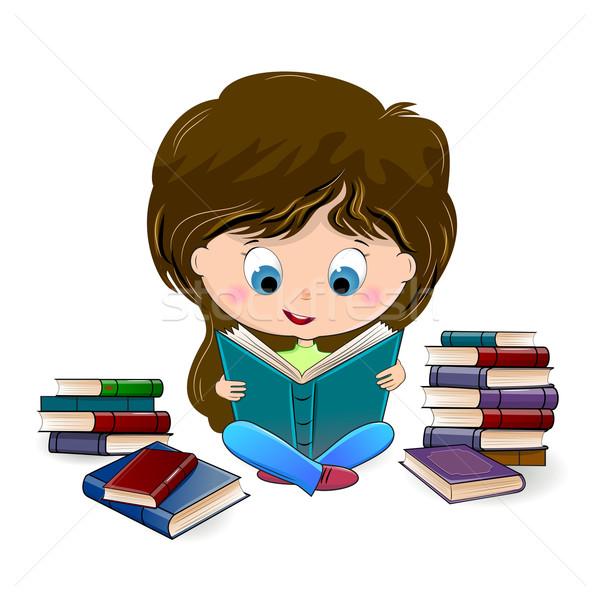 Meisje lezing boek vergadering kind onderwijs Stockfoto © liolle