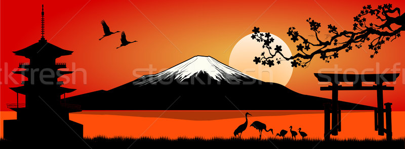 Stock photo: Mount Fuji at sunset