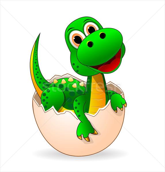 Sevimli küçük yeşil dinozor bebek gülen Stok fotoğraf © liolle