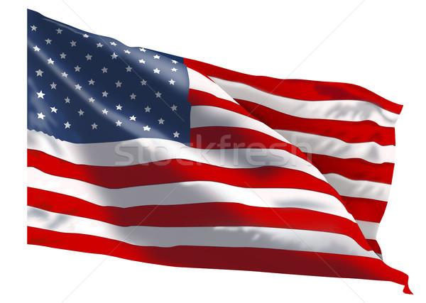 Amerikai zászló fehér zászló Egyesült Államok Amerika kék Stock fotó © liolle