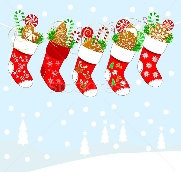 Christmas sokken snoep geschenken abstract ontwerp Stockfoto © liolle