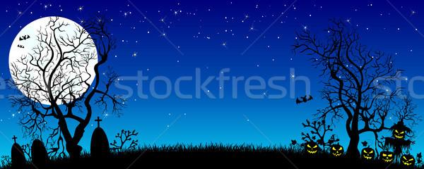 Foto stock: Halloween · noite · bandeira · abóboras · silhuetas · árvores