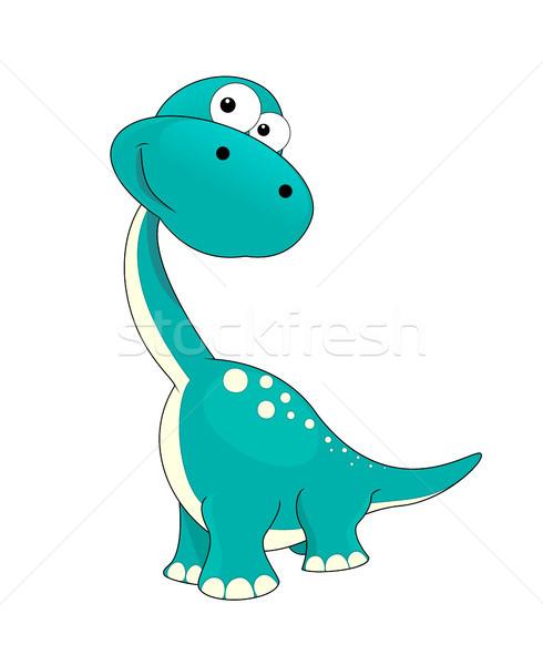 Piccolo dinosauro piccolo bianco cute cartoon Foto d'archivio © liolle