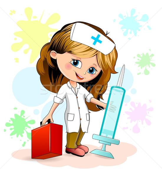 Meisje verpleegkundige cartoon uniform spuit Stockfoto © liolle