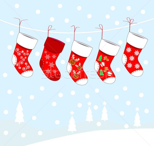 クリスマス 靴下 贈り物 抽象的な デザイン 背景 ストックフォト © liolle