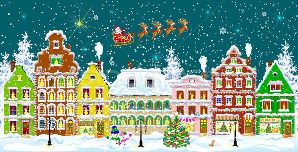 Stad winter nacht straat christmas vakantie Stockfoto © liolle