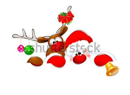 Cute Christmas reindeer Rudolph 2 Stock photo © liolle
