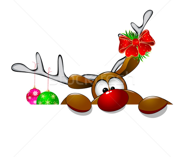 Cute Christmas reindeer Rudolf 4 Stock photo © liolle