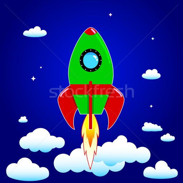 スペース ロケット 青空 雲 技術 青 ストックフォト © liolle