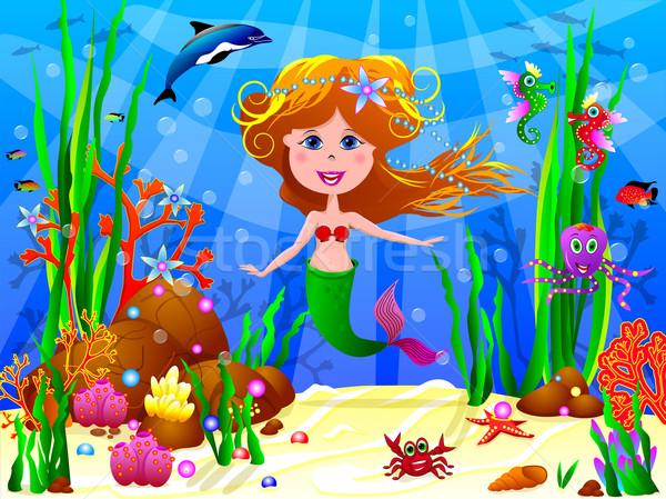 Weinig zeemeermin water zee onderwater Stockfoto © liolle