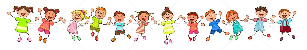 Groep gelukkig glimlachend kinderen vrolijk witte Stockfoto © liolle