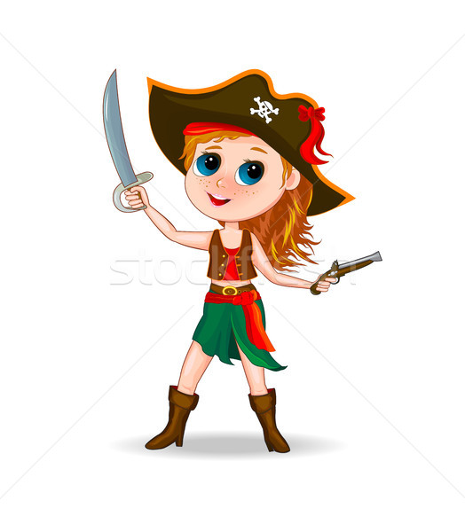 かわいい 少女 海賊 女の子 衣装 漫画 ストックフォト © liolle
