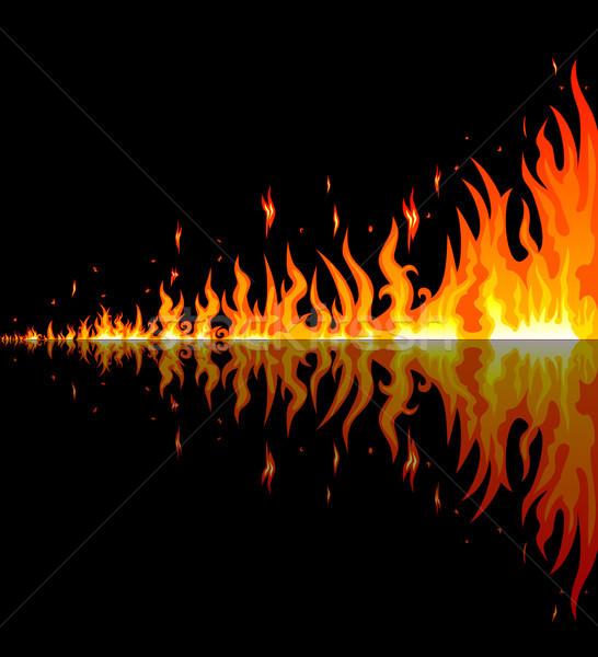 Foto stock: Ardente · chamas · fogo · reflexão · preto · fronteira