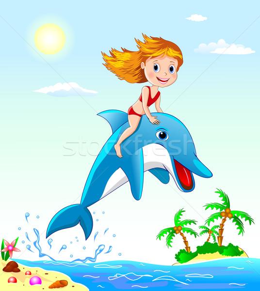 Meisje dolfijn meisje spelen strand zomer Stockfoto © liolle