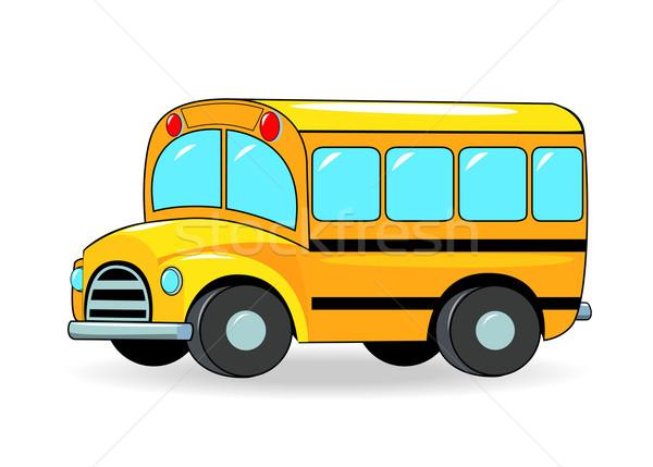 Iskolabusz rajz citromsárga szín fehér narancs Stock fotó © liolle