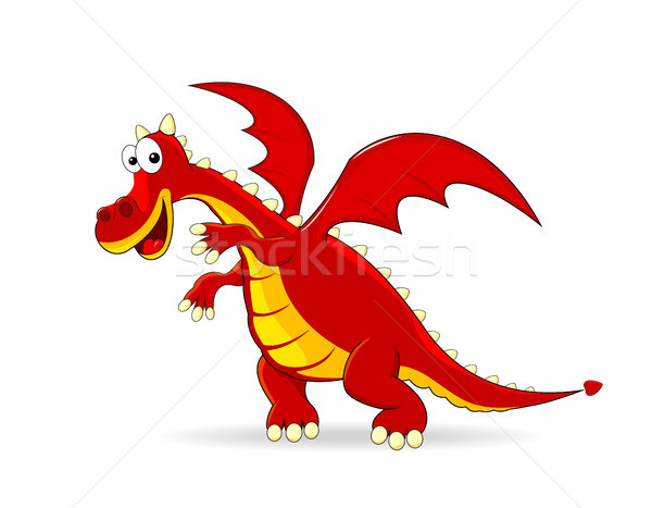Red dragon cartoon Stock photo © liolle