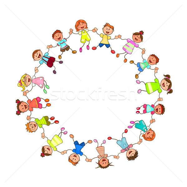 Gelukkig kinderen holding handen handen groep Stockfoto © liolle