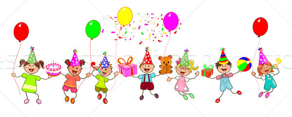 Joyful children with gifts Stock photo © liolle