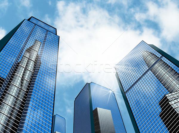Moderne business gebouw gebouwen hemel Stockfoto © liolle