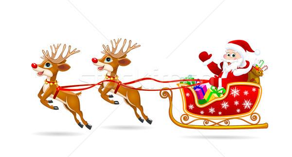 Święty mikołaj sanie Jeleń Święty mikołaj prezenty christmas Zdjęcia stock © liolle