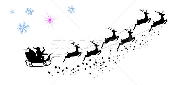 Stockfoto: Silhouet · kerstman · paardrijden · rendier · herten · sneeuwvlokken