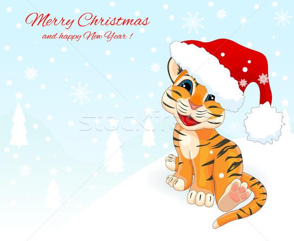 Kicsi tigris medvebocs karácsonyi üdvözlet üdvözlőlap mikulás Stock fotó © liolle