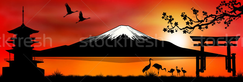 Mount Fuji at sunset 1  Stock photo © liolle