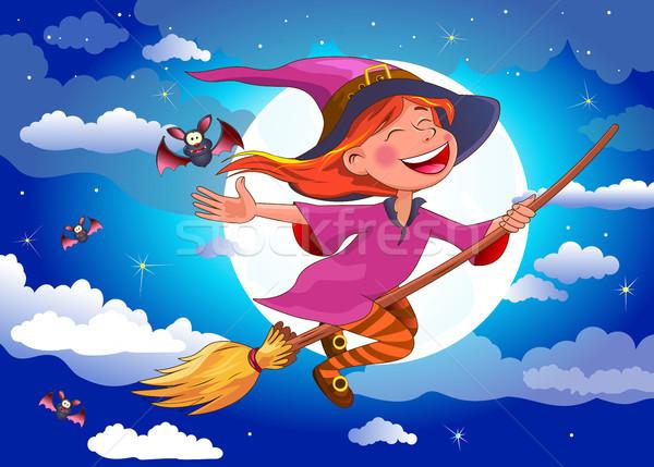 Halloween sorcière manche à balai nuit peu battant Photo stock © liolle