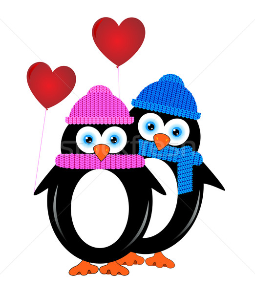 Stok fotoğraf: Küçük · iki · aşıklar · penguen · balonlar · form