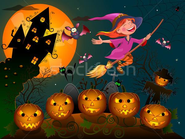Halloween weinig heks nacht bezem blijde Stockfoto © liolle