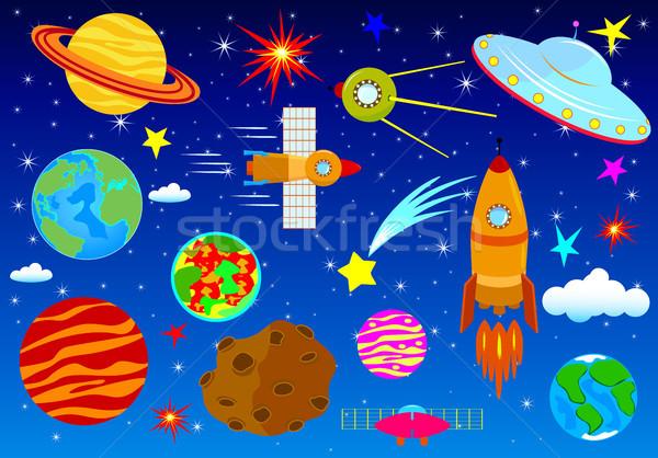 Szett csillagászati elemek éjszaka csillagos ég űr Stock fotó © liolle