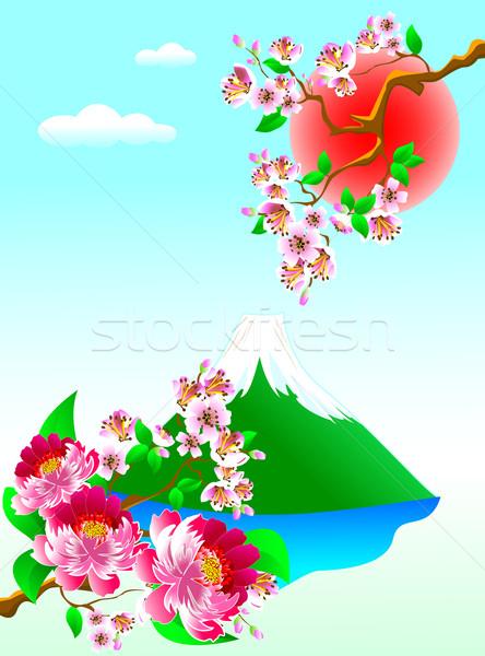 Fuji Dağı çiçekler doğa kırmızı Stok fotoğraf © liolle
