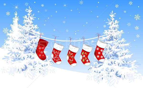 Christmas sokken geschenken winter achtergrond Stockfoto © liolle