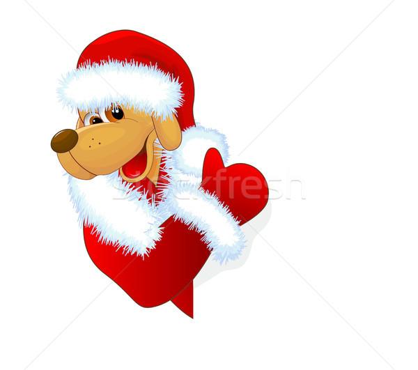 犬 グリーティングカード 黄色 冬 休日 白 ストックフォト © liolle
