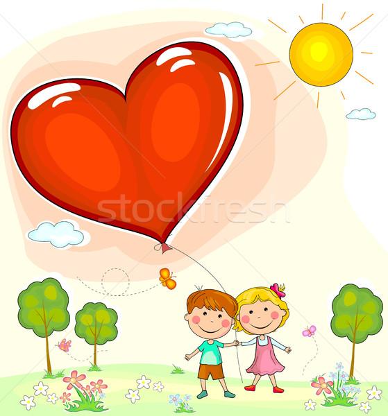 Erkek kız balon biçim kalp Stok fotoğraf © liolle