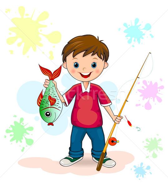 Pescador Peixe Crianca Pescaria Sorridente Ilustracao De