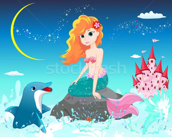 人魚 イルカ 美しい 海 石 1泊 ストックフォト © liolle