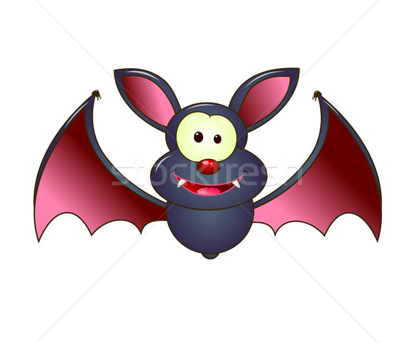 Halloween cute bat vampire cartoon blanche Photo stock © liolle