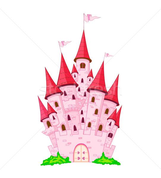 Foto stock: Rosa · princesa · castelo · desenho · animado · branco · edifício