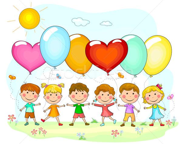 Kinderen ballonnen groep cartoon kinderen natuur Stockfoto © liolle