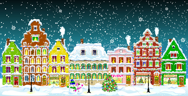 City on Christmas night Stock photo © liolle