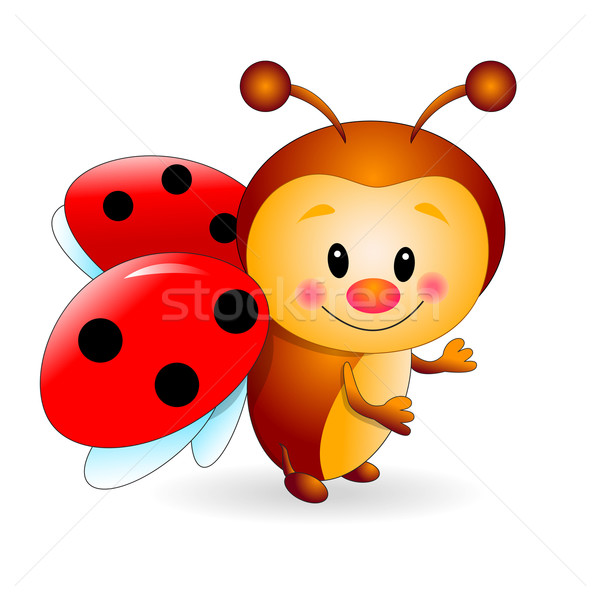 Cute coccinelle coccinelle cartoon blanche insecte Photo stock © liolle