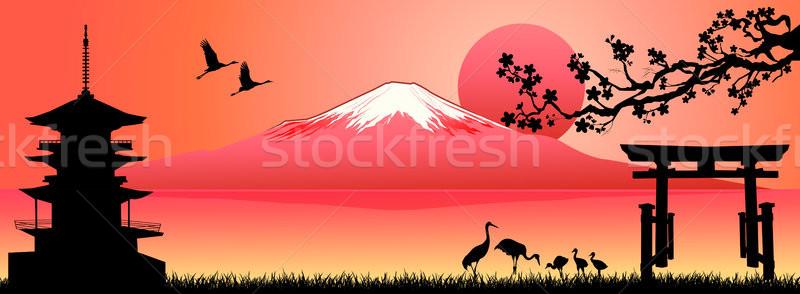 Paisagem Monte Fuji pôr do sol silhueta fuji montanha Foto stock © liolle