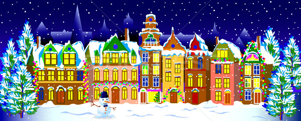 Winter night in the old  town Stock photo © liolle