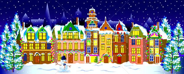 Winter nacht oude binnenstad stad ingericht christmas Stockfoto © liolle