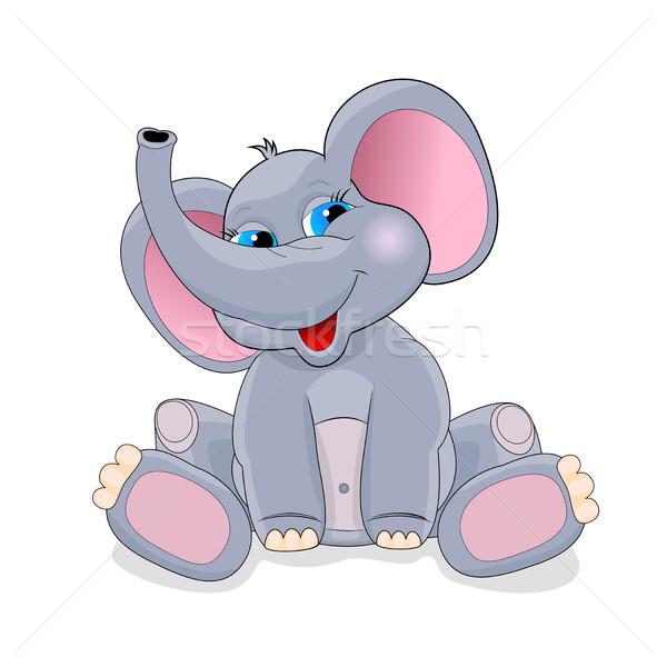 かわいい 赤ちゃん 象 漫画 白 グリーティングカード ストックフォト © liolle