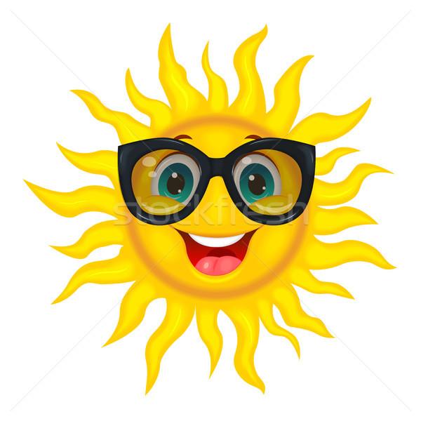 Zon zonnebril vrolijk cartoon bril vrolijk Stockfoto © liolle