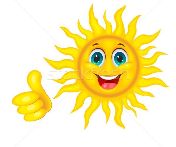 Glimlachend mooie zon vrolijk cartoon witte Stockfoto © liolle