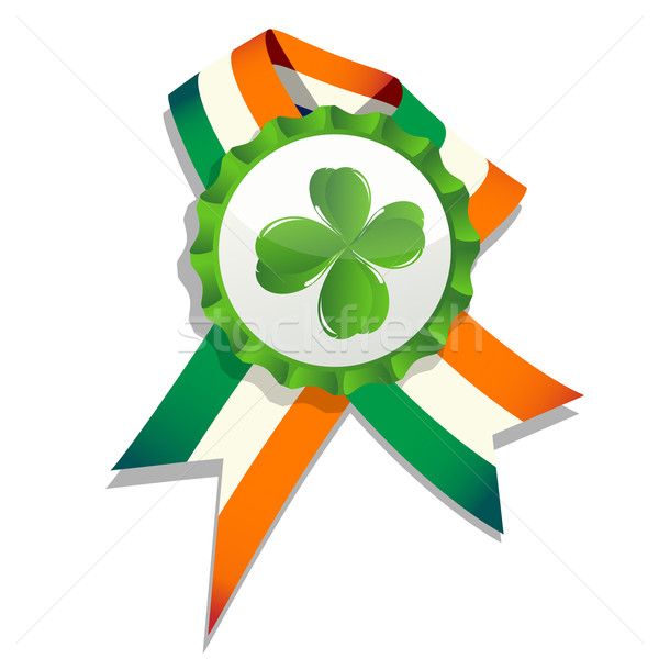 Beer cap with clover leaf and flag Stock photo © lirch