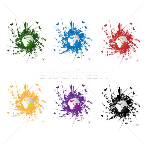 Ecologia icone colori oggetti isolati bianco mare Foto d'archivio © lirch